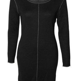 Black Tape Black Tape - Black Double Faced Sweater Dress w/ Grey Lines