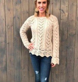Black Swan Black Swan - Oatmeal Crochet Bell Slv Sweater