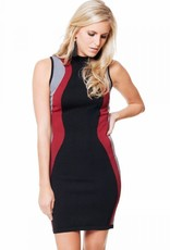 Black Swan Black Swan - Black/Red/Grey Slv/less Bodycon Dress 'Chantelle'
