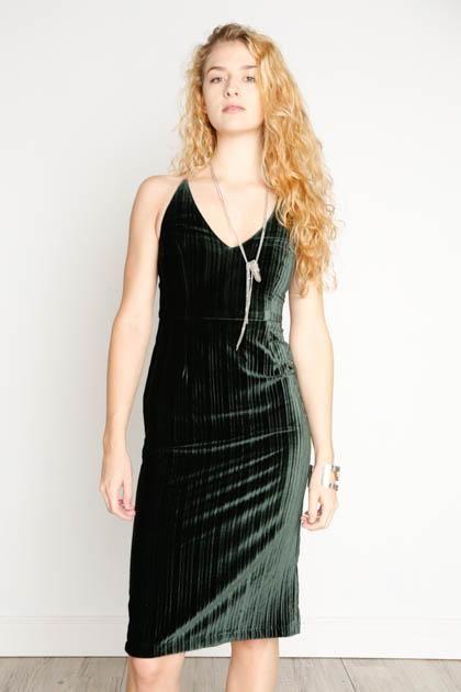 Black Swan Black Swan - Forest Green Velvet Dress 'Lauren'