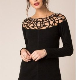 Black Swan Black Swan - Black Top w/ Lattice Detail Neckline 'Leila'