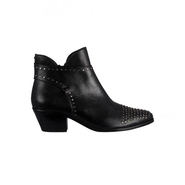 Cartel Cartel - Black Leather Front Studded Bootie w/ Size Zip 'Juana'