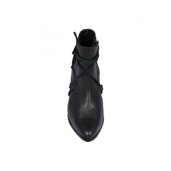 Cartel Cartel - Black Leather Side Lace Bootie 'Pacora'