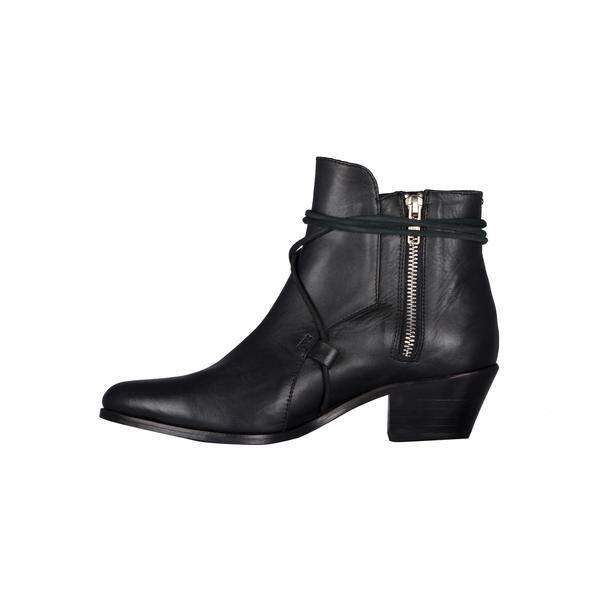 Cartel Cartel - Black Leather Side Lace Bootie 'Pacora'