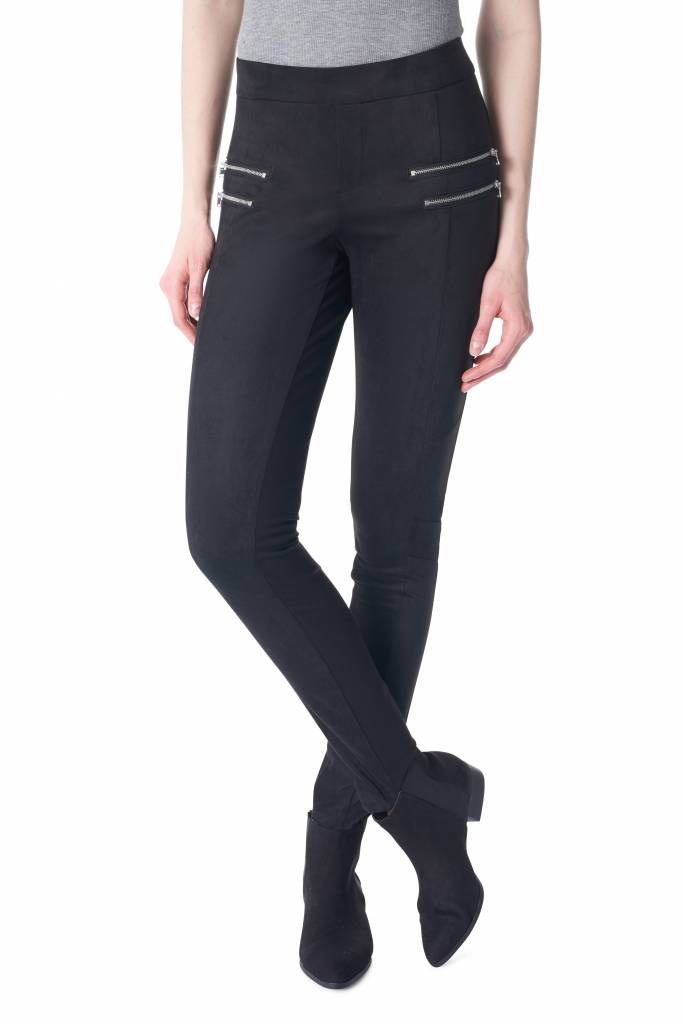 I Love Tyler Madison Tyler Madison - Duo Suede Ponte Pant w/ Zippers 'Najat'