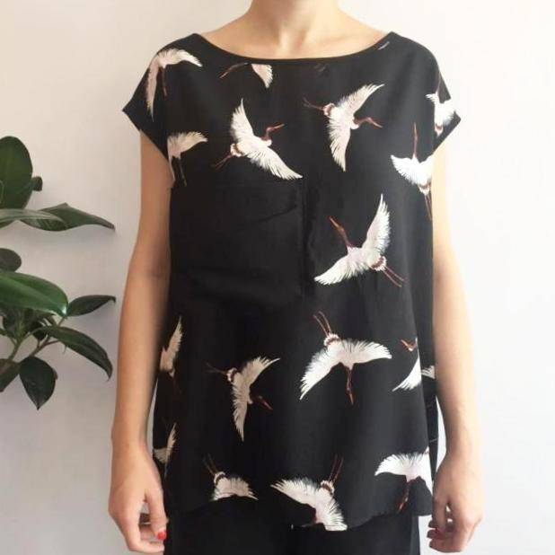 Cokluch Cokluch - Black Boatneck Shirt w/ Heron Bird Print 'Bloody Mary'