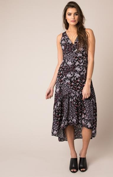Black Swan Black Swan - Floral Printed Hi-Lo Ruffle Bottom Dress 'Irana'