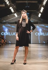 Cokluch Cokluch - Black Midi Dress w/ Embroidery Detail 'Alexandra'