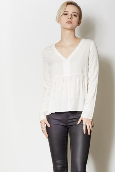 Pink Martini Pink Martini - White V-Neck Top w/ Babydoll Waist 'Layla'