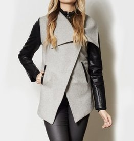 Pink Martini Pink Martini - Grey Asymmetrical Zip Coat w/ Faux Leather Sleeves 'Gateway'