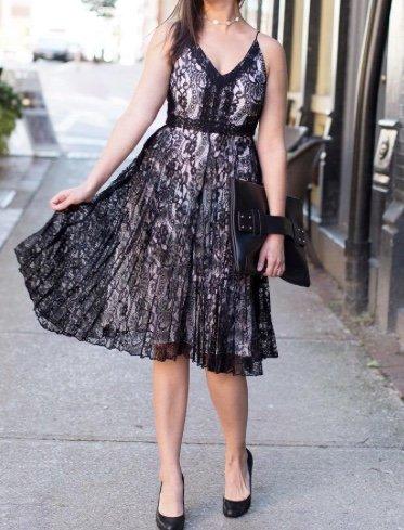 Black Swan Black Swan - Black/White Lace Midi Dress 'Valerie'