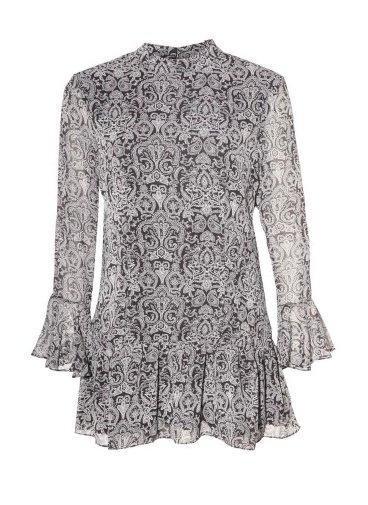 DEX Dex - Black/White Paisley Bell Slv Dress