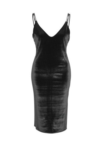 DEX Dex - Black Velvet Bodycon Midi Dress