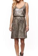 DEX Dex - Vintage Gold Metallic Pleated Dress