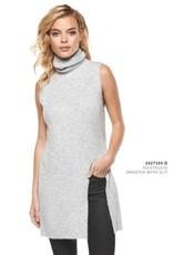 DEX Dex - Light Grey Sleeveless Slit Sweater