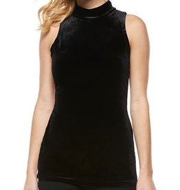 Black Tape Dex - Black Velvet Mock Neck Slv/less Top