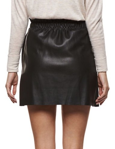 DEX Dex - Black Faux Leather Frill Mini Skirt