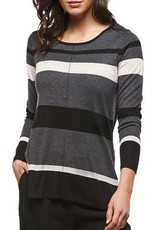 Black Tape Black Tape - Charcoal/Ivory Striped Fine Gauge Sweater