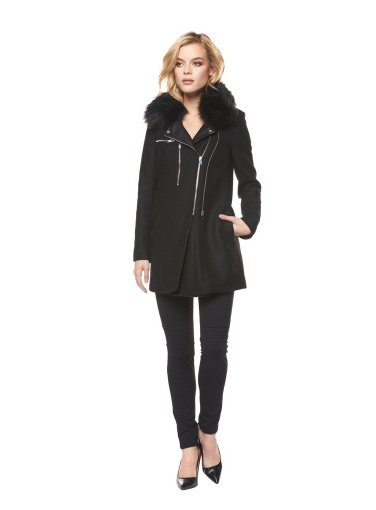 DEX Dex - Black Wool Coat w/ Fur Collar
