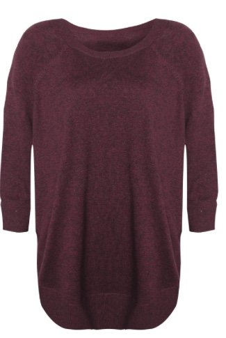 Black Tape Black Tape - Burgundy 3/4 Sleeve Round Hem Light Knit