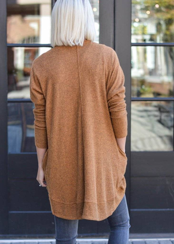 Z Supply Z Supply - Almond Brushed Ribbed Open Cardigan