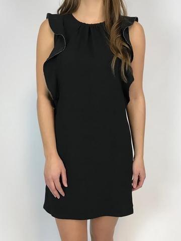 Black Swan Black Swan - Black Dress w/ Side Ruffles 'Lillian'