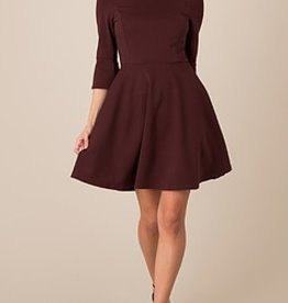 Black Swan Black Swan - Bitter Chocolate Fit + Flare Dress w/ Bell Slv