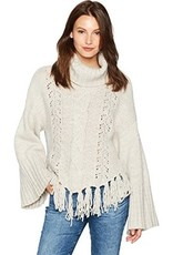 Cupcakes and Cashmere Cupcakes + Cashmere - Latte Wide Sleeve w/ Fringe Bottom Sweater