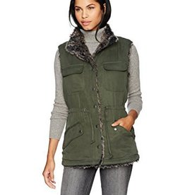 Cupcakes and Cashmere Cupcakes + Cashmere - Army Green Vest w/ Faux Fur Lining