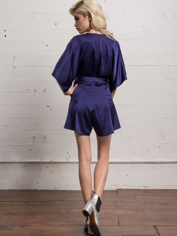 WYLDR WYLDR - Blue Silk Playsuit w/ Waist Tie