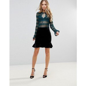 WYLDR WYLDR - Black  Velour Skirt w/ Ruffle Bottom