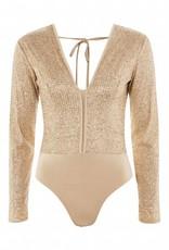 WYLDR WYLDR - Gold Sparkly Bodysuit w/ Deep V + Backless