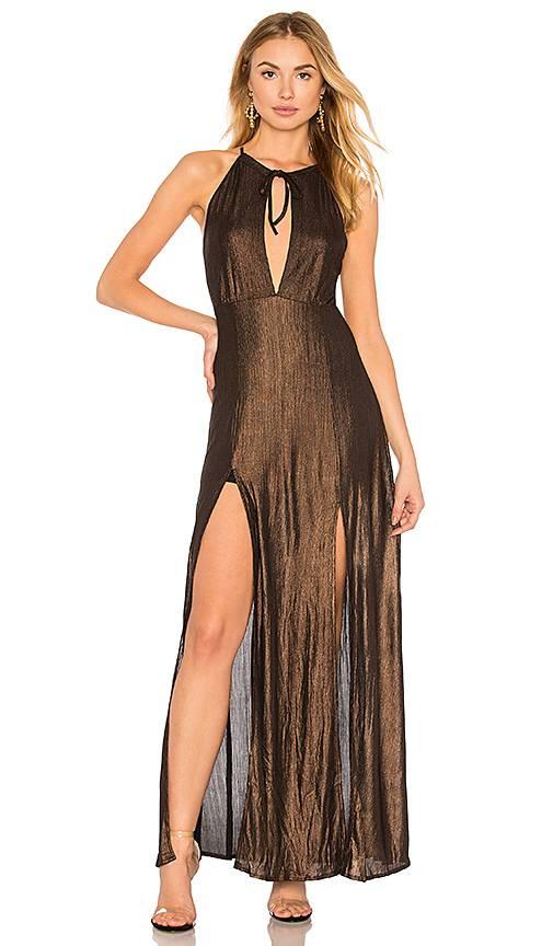 WYLDR WYLDR - Brown Metallic Maxi Dress w/ Side Slits