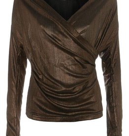 WYLDR WYLDR - Brown Metallic Long/Slv Crossover Top
