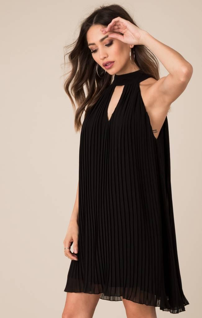 Black Swan Black Swan - Black Pleated Dress w/ Key hole