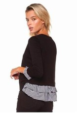 DEX Dex - Black/Gingham L/Slv Crewneck Sweater