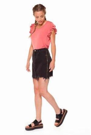 DEX DEX - Black Denim Skirt w/ Zippers + Raw Hem