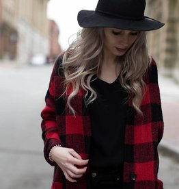 DEX DEX - Red/Black Buffalo Plaid Checker Sweater Coat