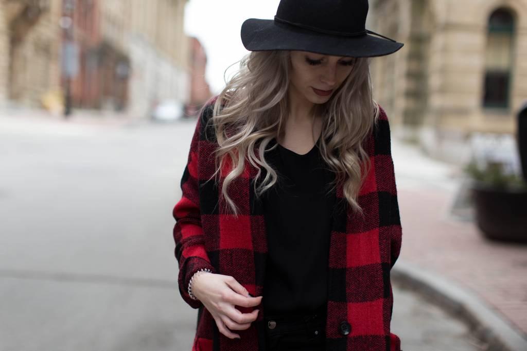 DEX DEX - Red/Black Buffalo Plaid Checker Sweater Coat