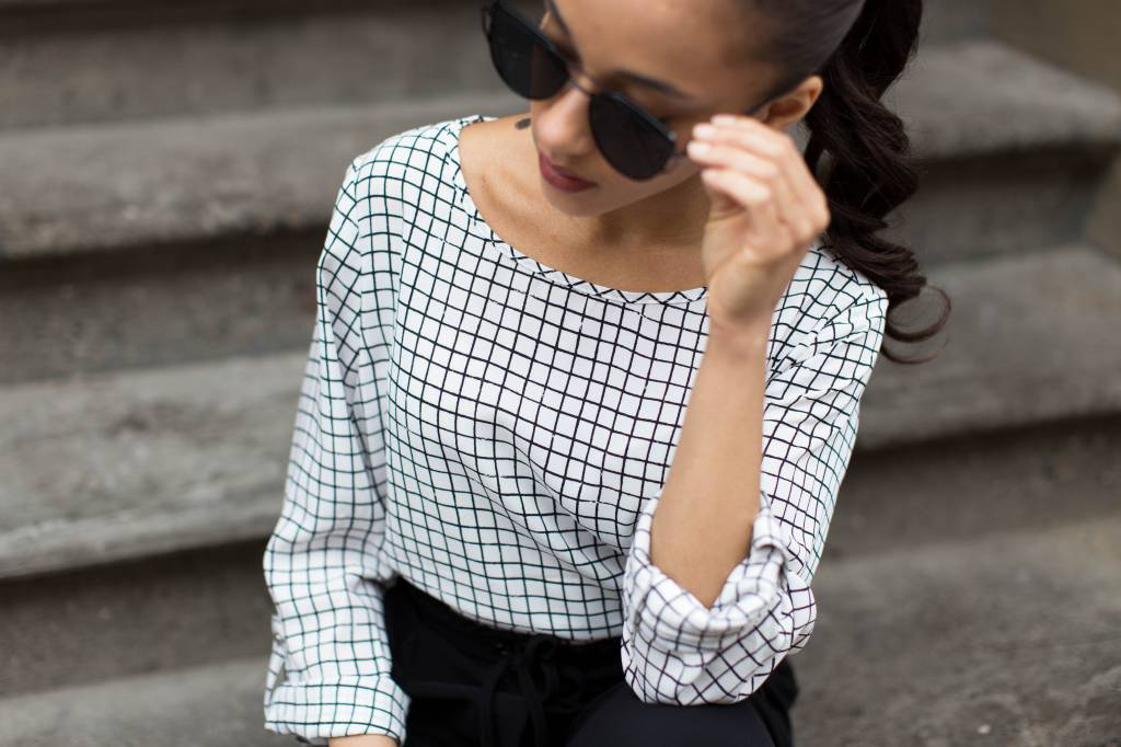 Black Tape Black Tape - Black/White Check Print L/Slv Hi-Lo Top