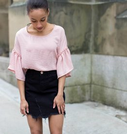 Black Tape Black Tape - Blush Pink Ruffled S/Slv Crewneck Top