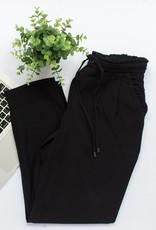 Black Tape Black Tape - Black Tapered Crop Pant w/ Ruffled Waist + Pocket