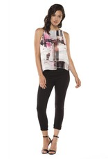 Black Tape Black Tape - White/Pink Slv/less Abstract Hatch Print Chiffon Top