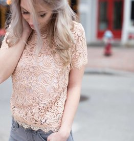 Black Tape Black Tape - Blush Pink S/Slv Mock Neck Lace Tee