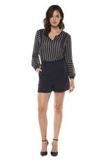 Black Tape Black Tape - Navy w/ White Stripe L/Slv Babydoll Top