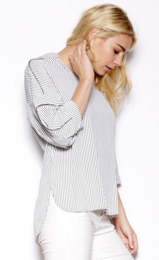 Pink Martini Pink Martini - Black + White Stripe 3/4 Slv Top