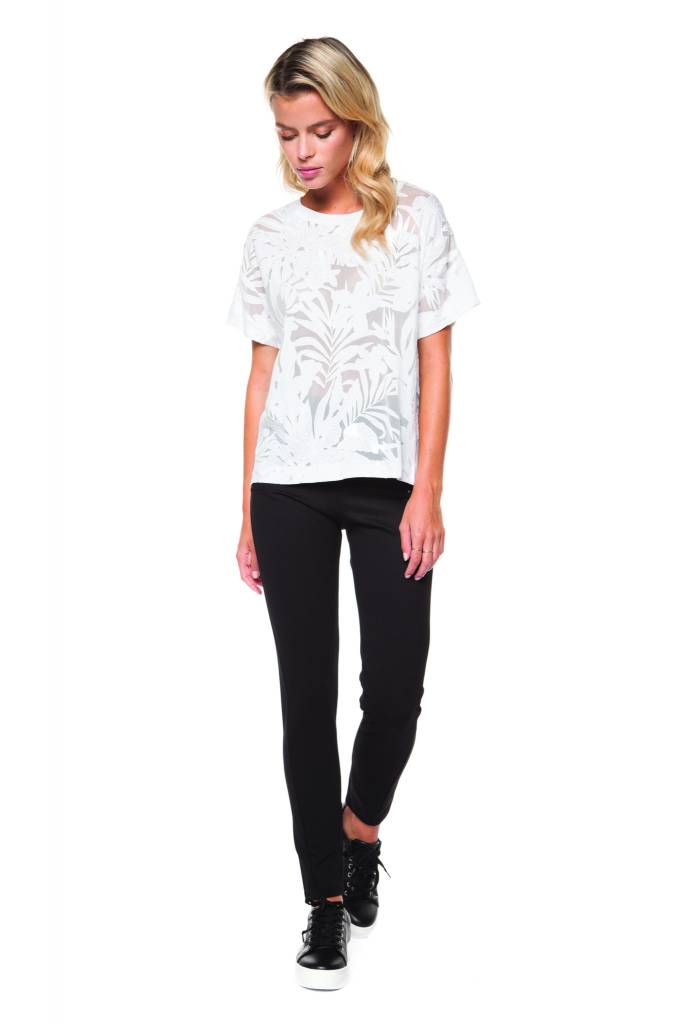 DEX Dex - White Mesh Pattern T-Shirt
