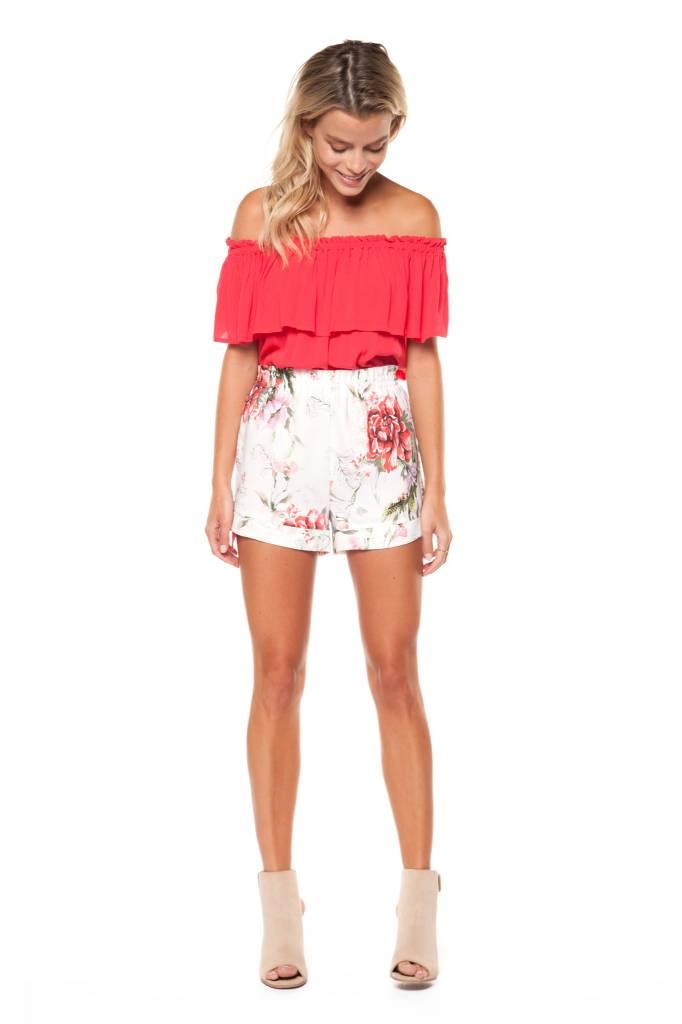 DEX Dex - White Floral Elastic Waist Shorts