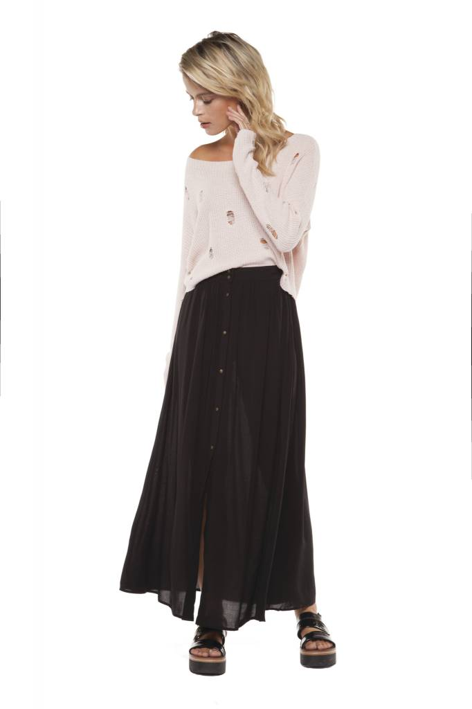 DEX Dex - Black Maxi Skirt w/ Button Front Closure