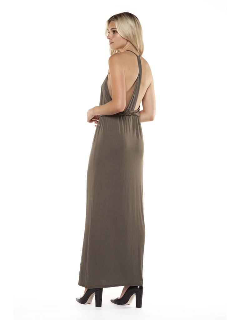 DEX Dex - Khaki Maxi Dress w/ Drape Back